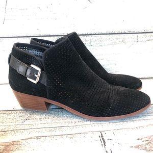 Sam Edelman perforated black suede booties 9.5